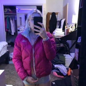 hot pink North Face puffy